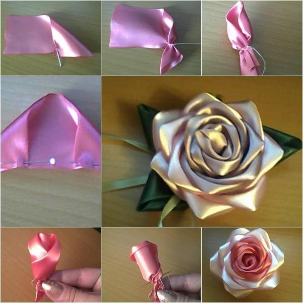 Как делать розы из лент своими руками