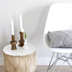 столик на колесиках из бревна в интерьере