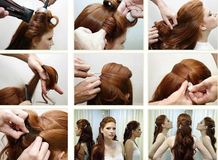 Укладка на длинные волосы своими руками в домашних