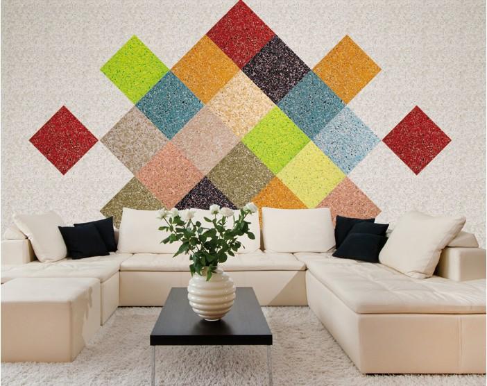 Геометрическое панно на стене в выполнении жидких обоев