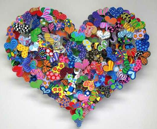 Разноцветные сердечки своими руками