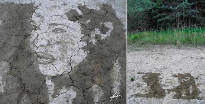 Портрет нарисованный водой на земле.