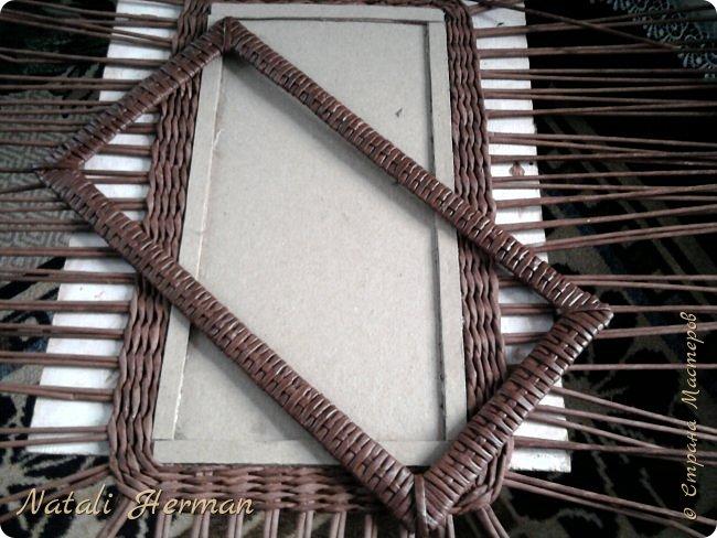 Мастер-класс Рама паспарту Плетение Рамочки Трубочки бумажные фото 4