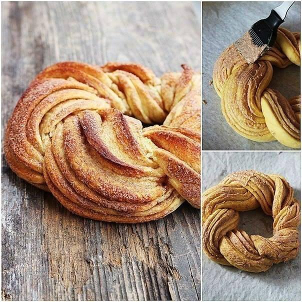 Плетеную булочку смажьте оставшейся смесью из масла и корицы мягкой кисточкой. еда, своими руками, сделай сам