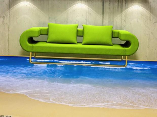 Наливной пол с рисунком волны
