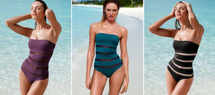 Модные слитные купальники: стильно и сексуально: Купальник без бретелек с тонкими полосами из прозрачной сетки выглядит очень соблазнительно.