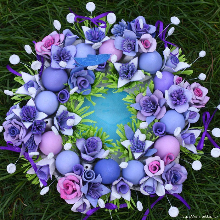 Цветы из пластиковых яичных ячеек мастер класс