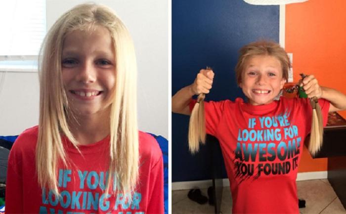 8-летний мальчик 2 года отращивал волосы, чтобы отдать их на парики детям, страдающим от рака.