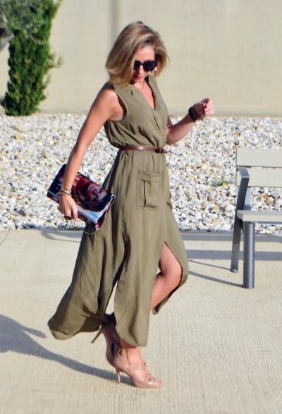 повседневное платье с разрезами для леди старше 50