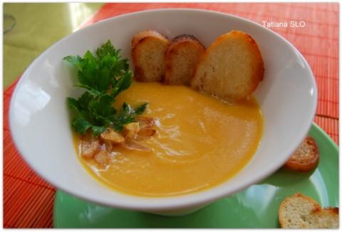 Тыквенный крем-суп на бульоне из куриной печени...