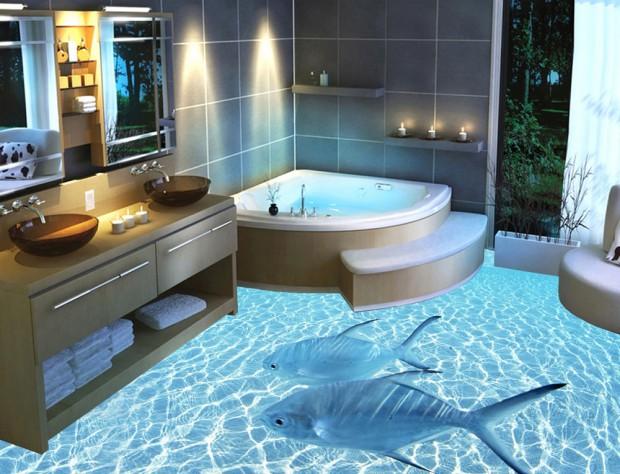 Наливной пол в ванной комнате