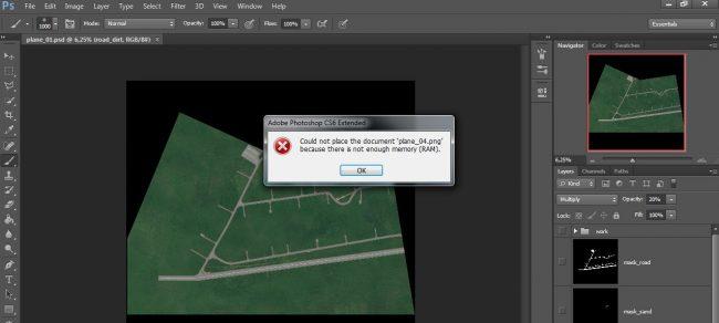 Нехватка памяти для работы с Adobe Photoshop