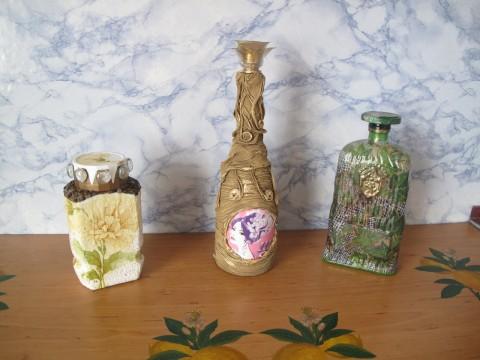 Декупаж бутылочки и баночки из под кофе(весенний вариант).