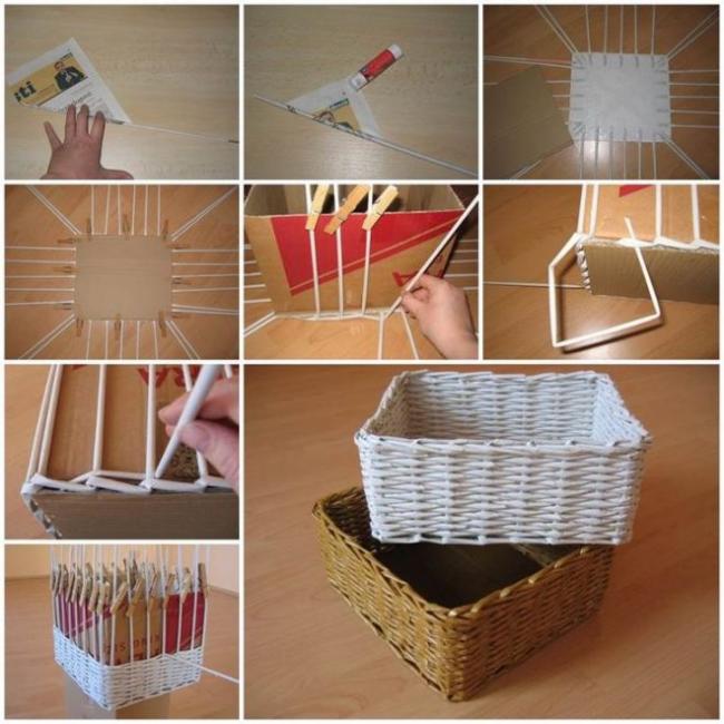 Как сплести корзинку из бумажных трубочек своими руками