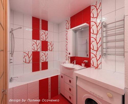 Ванна в красном цвете дизайн