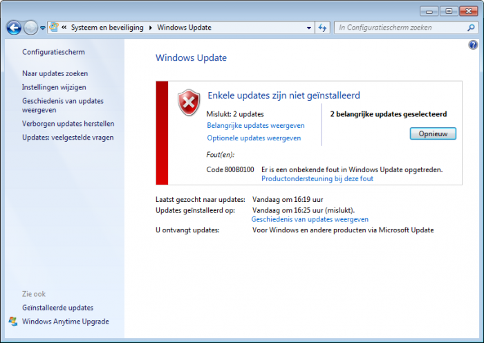 Не устанавливается sp1 windows 7