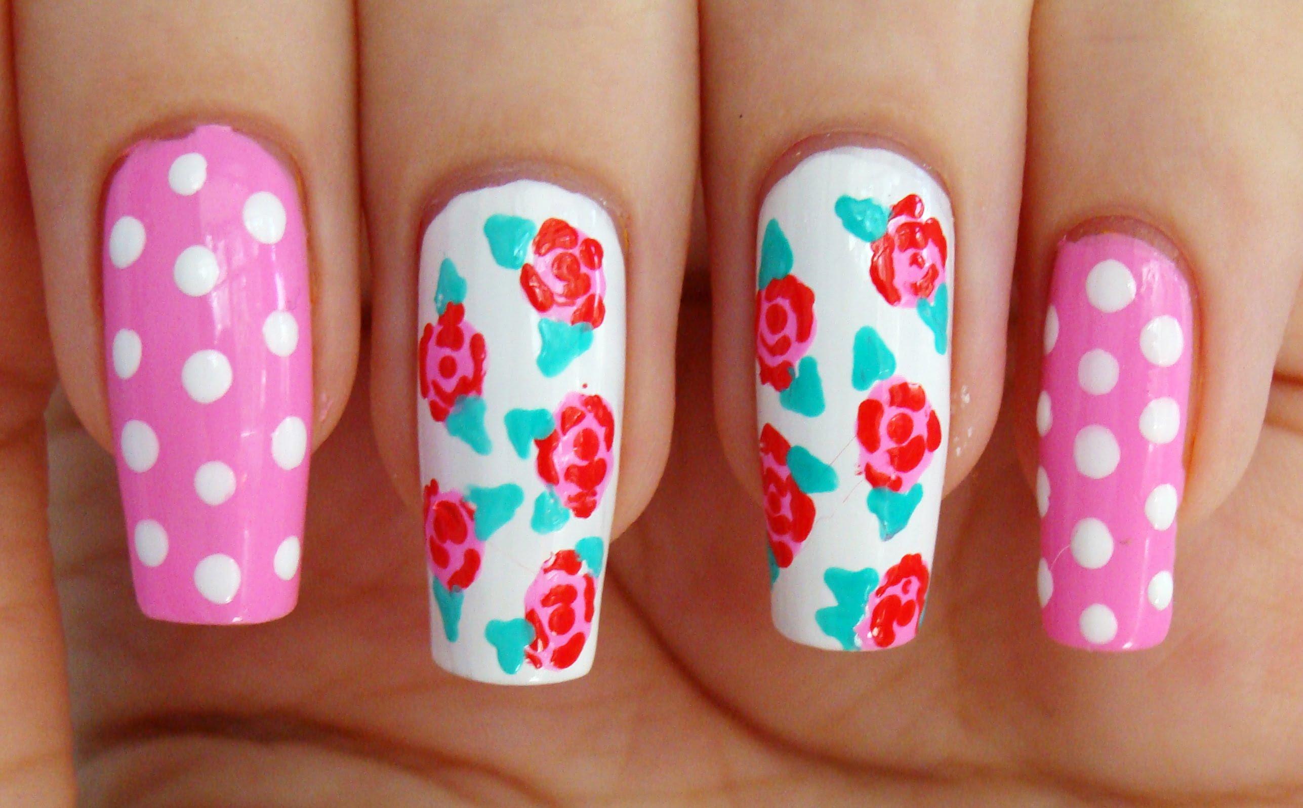 Фото ногти роза на весь ноготь