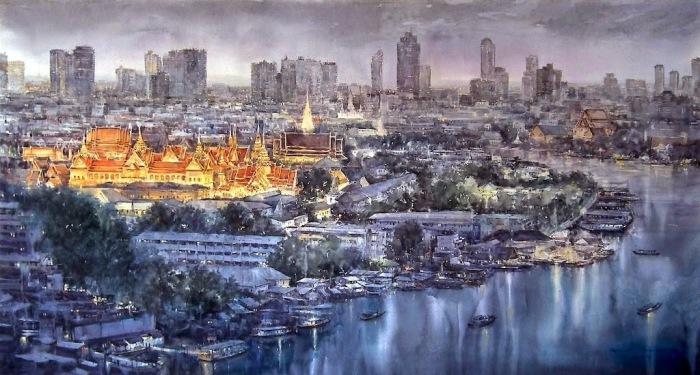 Акварельные работы таиландского художника Дирека Кингнока (Direk Kingnok).