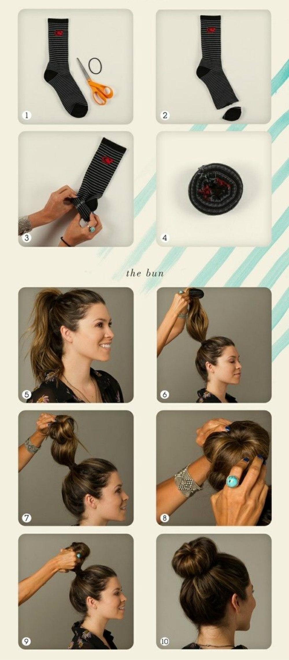 Как сделать резинку для волос из носка видео