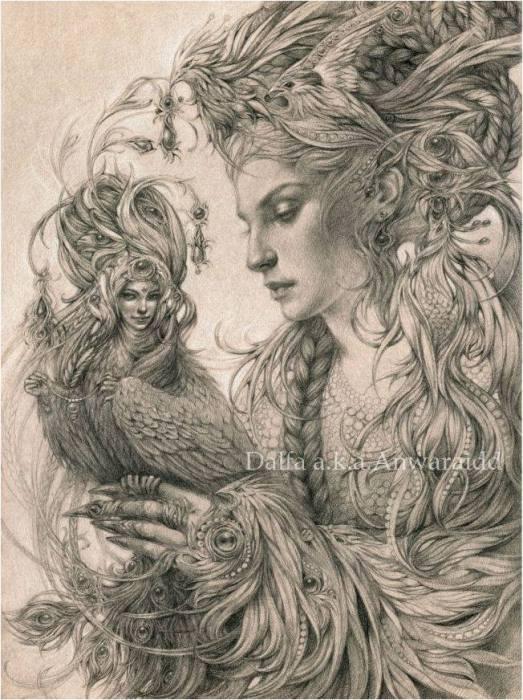 Ручная птица (Hand-feed bird). Волшебные работы Ольги Исаевой (Olga Isaeva).