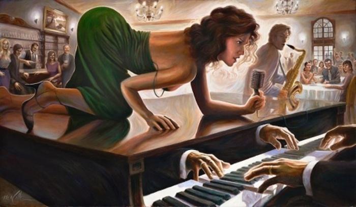 Вечер в баре. Автор: Mark Keller.