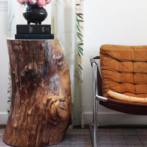 мебель из пней в интерьере гостиной