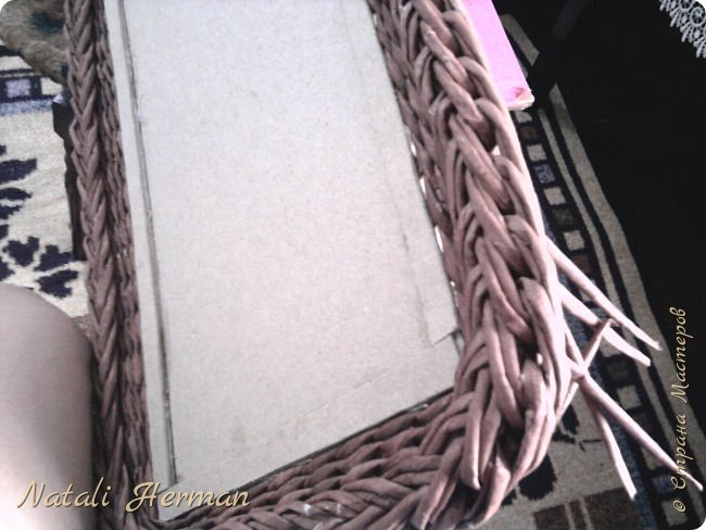 Мастер-класс Рама паспарту Плетение Рамочки Трубочки бумажные фото 7