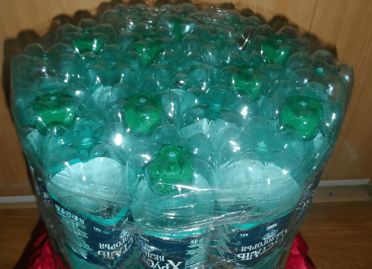Высокий пуфик из пластиковых бутылок своими руками пошагово для начинающих