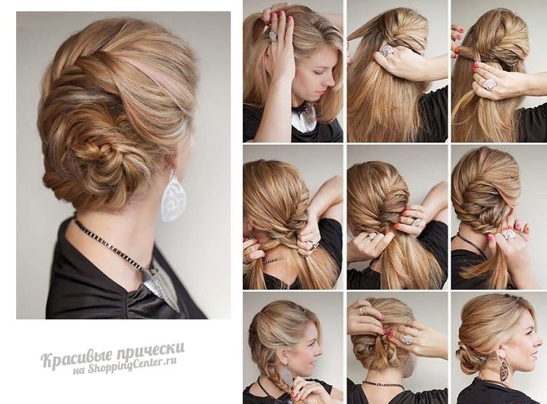 Прически на средние волосы по шагам с фото