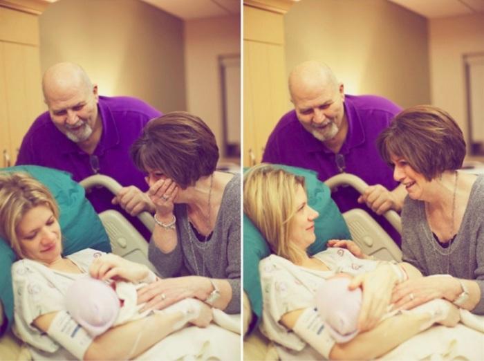 Новоиспеченные бабушка и дедушка.