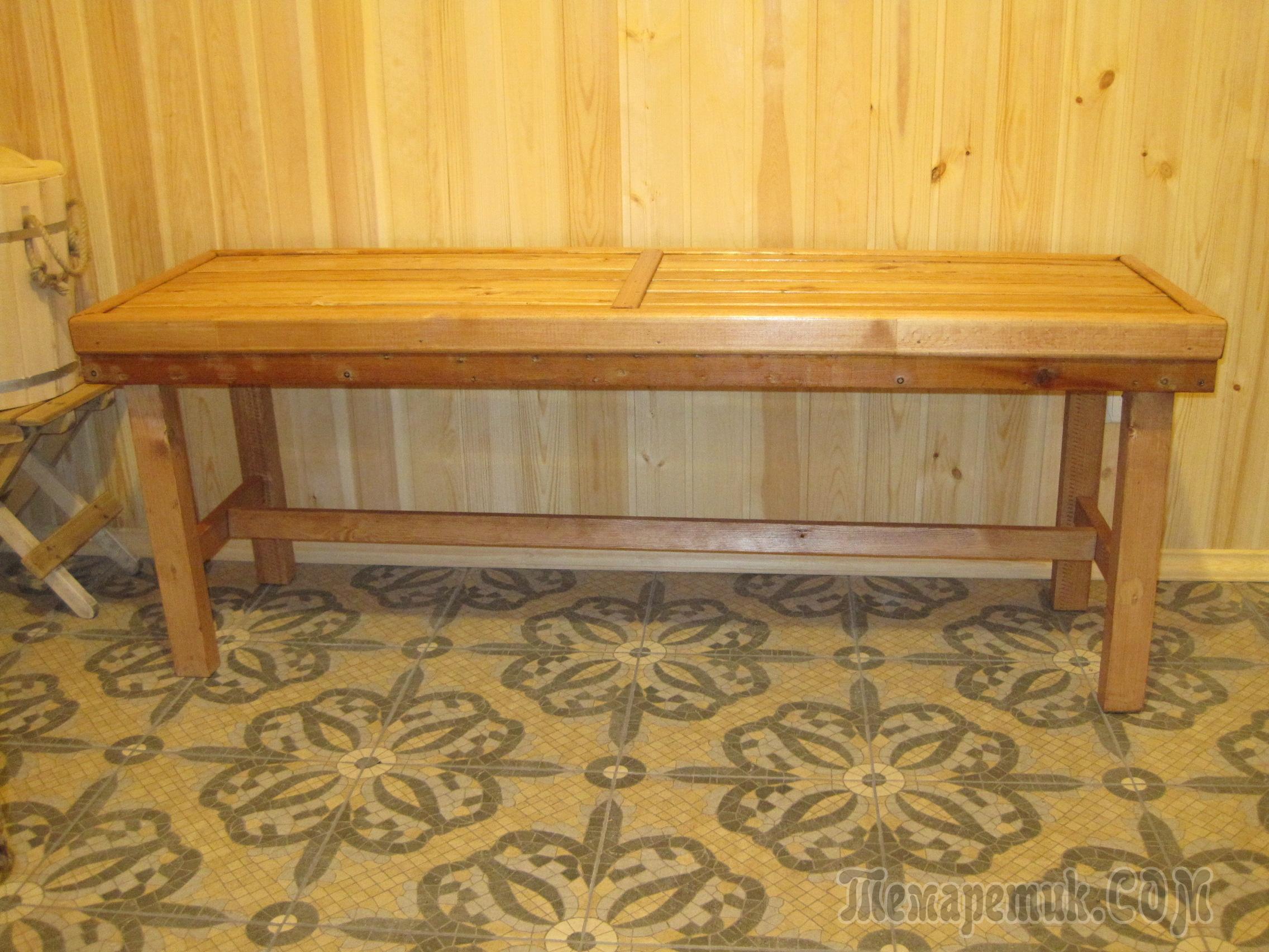 Фото скамеек для бани своими руками