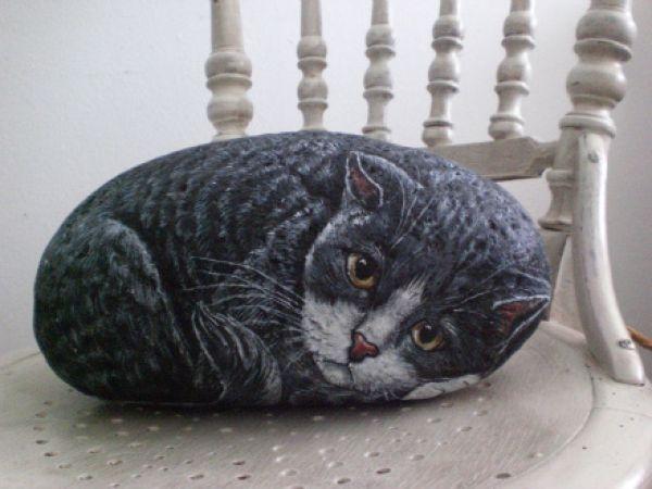 Как нарисовать кота на камне пошагово | все о кошках и