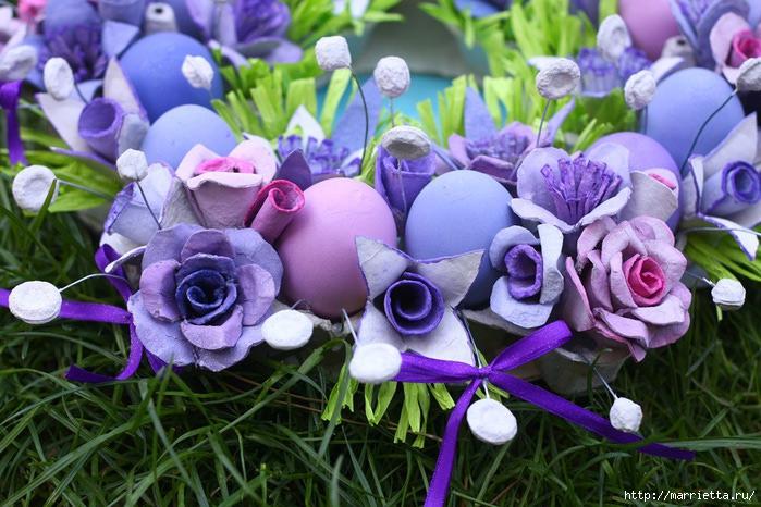 Мастер класс цветов из яичных лотков