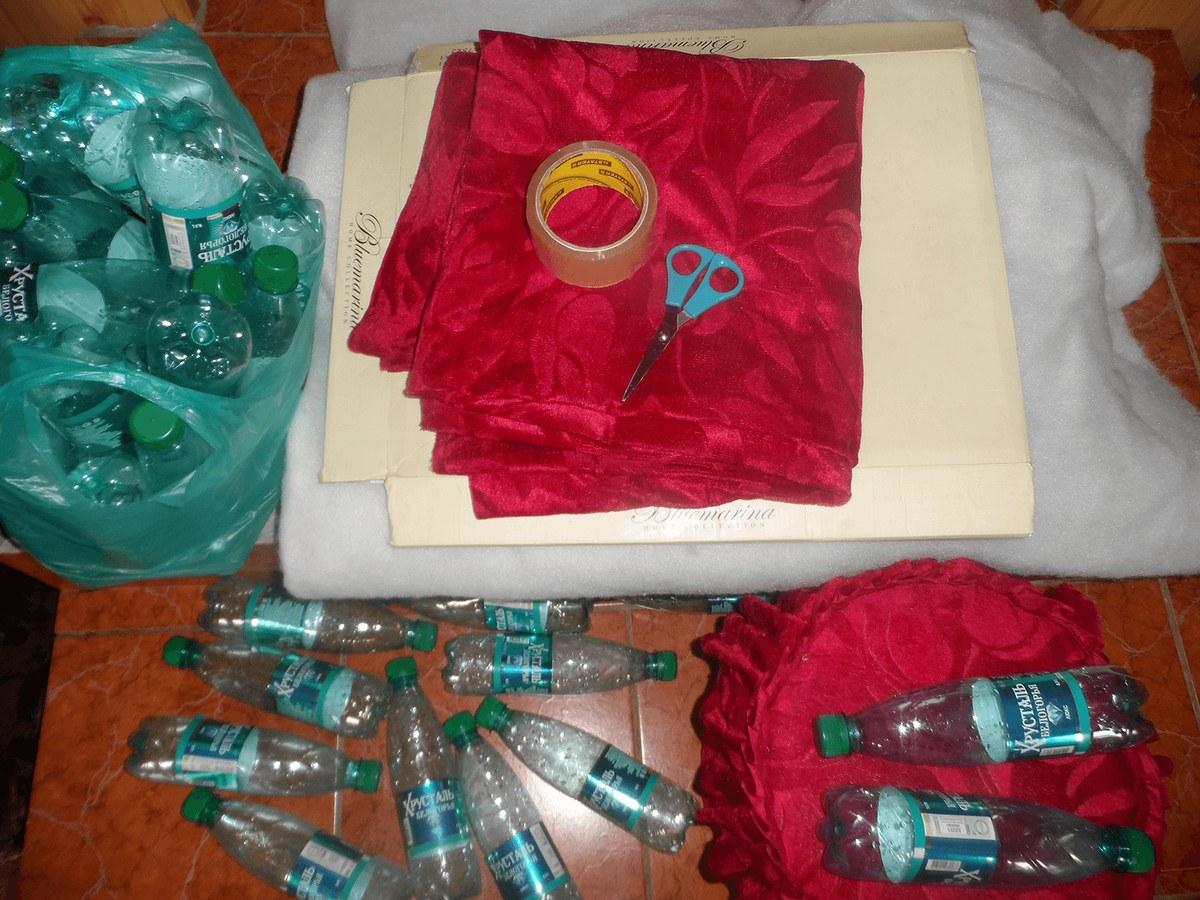 Пуфик из пластиковых бутылок Своими руками 36