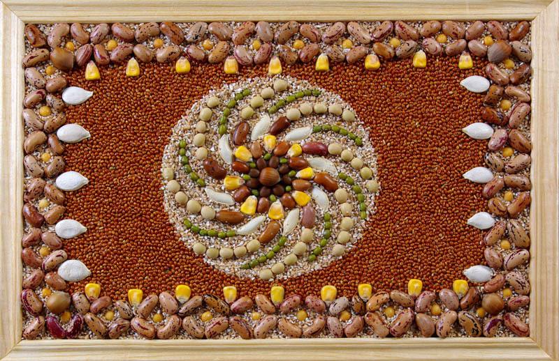 Картины из круп и семян своими руками фото поделки для детей