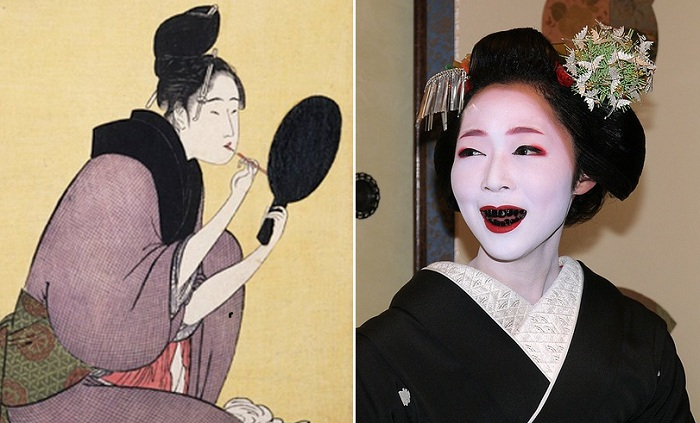Огахуро - чернение зубов у японцев. | Фото: masterok.livejournal.com.