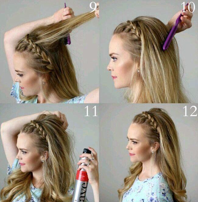 Как сделать причёску ободок косой