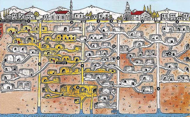 Схема подземного города в