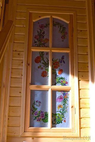 Витражная роспись двери в дачном доме (мастер-класс).
