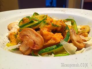 Фетучини из кабачка в тыквенно-сливочном соусе