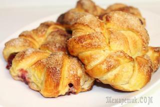 Слоеные булочки с вишней (как красиво завернуть)
