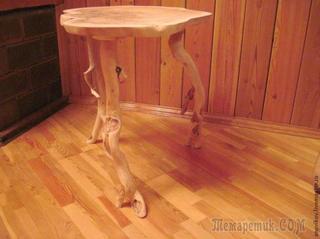 Журнальный столик из капа ангорской сосны