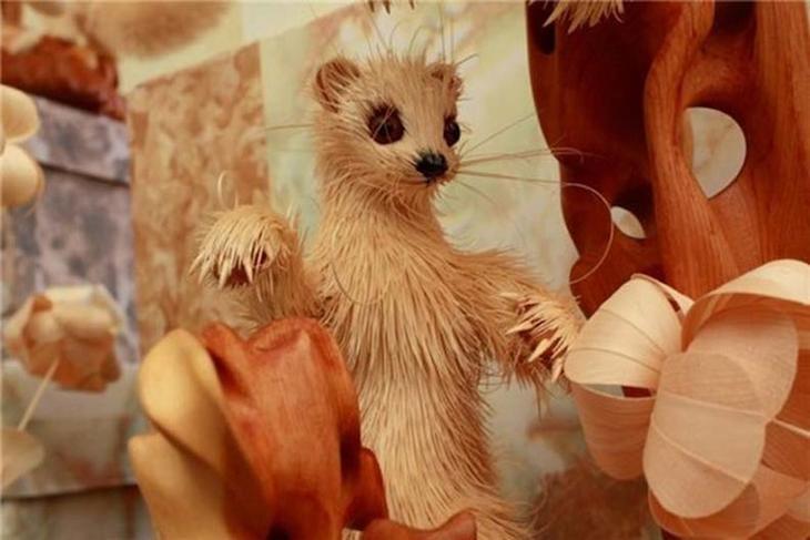 Realistic Siberian Wildlife 11 Скульптуры животных из стружки кедрового дерева