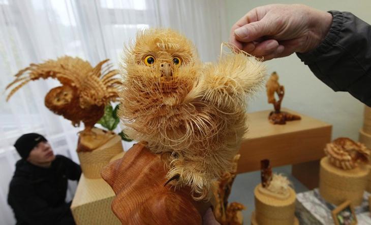 Realistic Siberian Wildlife 9 Скульптуры животных из стружки кедрового дерева