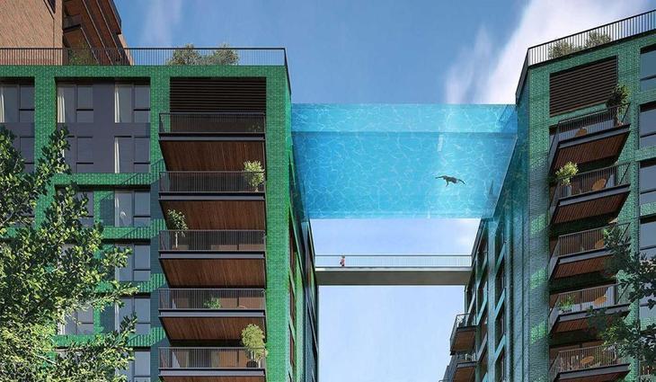 9. Проект стеклянного бассейна между двумя зданиями в Лондоне. Бассейн будет построен в первой половине 2017 года. интересное, фото