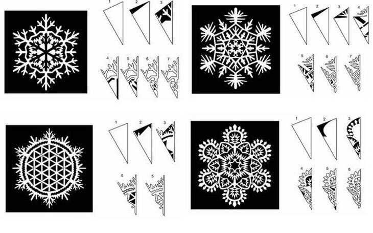 Скачать шаблон объемной снежинки из бумаги