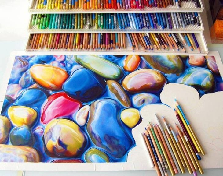 22. Невероятной красоты рисунок, выполненный цветными карандашами. интересное, фото