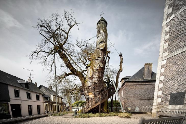 7. Тысячелетний дуб, внутри которого находится часовня, Франция. интересное, фото