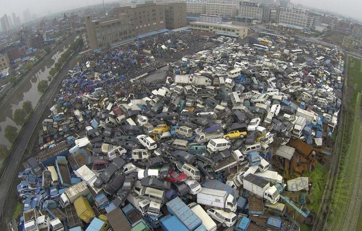 Автомобильные свалки в Китае авто, китай, свалка