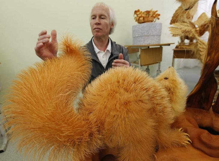 Realistic Siberian Wildlife 6 Скульптуры животных из стружки кедрового дерева